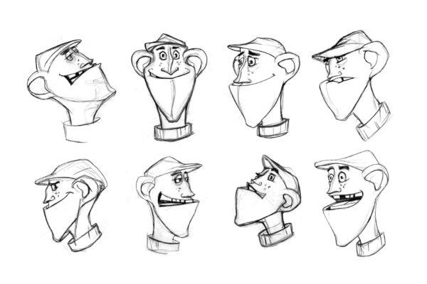 Bianca Faltermeyer Art Pencil Drawing Character Design Expression Cheet Rough Sketch Line Art 02